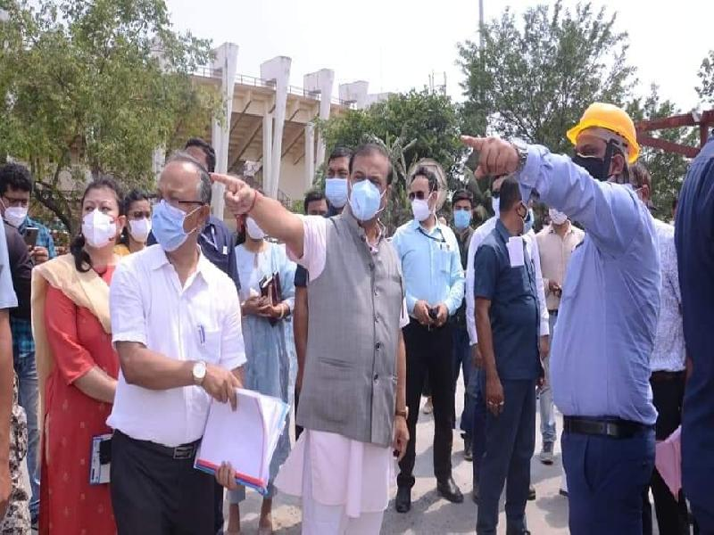 CM-Himanta-Biswa-Sarma-takes-stock-of-ongoing-construction-of-DRDO's-COVID-Hospital